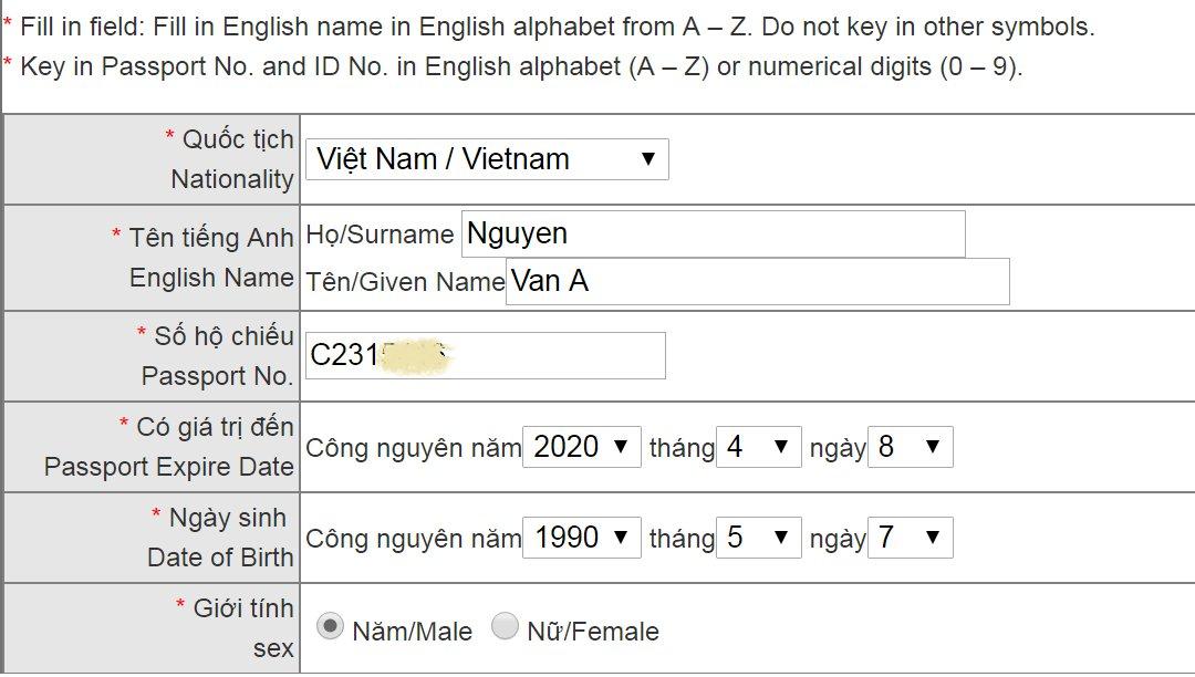 E-visa Đài Loan khai thông tin