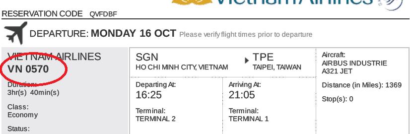 E-visa Đài Loan thông tin vé máy bay