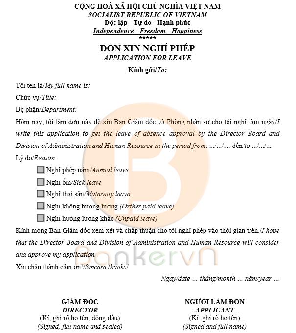 Mẫu đơn xin nghỉ phép song ngữ 02